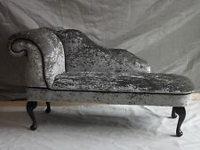 Pewter Crushed Velvet Chaise Longue