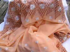 "2 m embroidered peach chiffon sari border material fabric 60"" + wide"