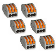 Compact Connector 3-Conductor Terminal Blocks with Levers - Wago 222-413 (6 pcs)