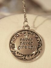 Shiny Swirl Edged Never Give UP! Rhinestone Accent Rnd Silvertn Pendant Necklace