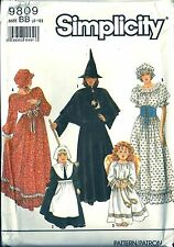 Simplicity Costume Pattern 9809 Witch Angel Pilgrim Pioneer Child Size BB 2-12