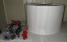 New n box Pottery Barn Small Linen Drum pendant chandelier ivory shade off white