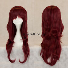 Long wavy curly cosplay wig with fringe in mahogany red, UK seller Charlie style