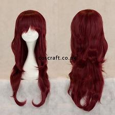 Long wavy curly cosplay perruque avec frange en acajou rouge, vendeur britannique charlie style