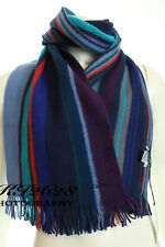 BNWT PAUL SMITH MEN'S MULTI STRIPE EDGE PURE NEW WOOL KNITTED REVERSIBLE SCARF