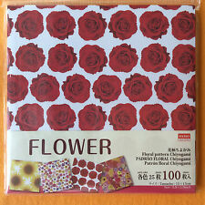 D-04547 Daiso FLOWER Floral Pattern Chiyogami Origami Paper 100 Sheets NEW