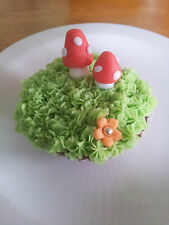 12 toadstools / mushrooms ideal for cakes cupcakes birthday wedding fairy spring