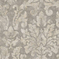 Modern Contemporary Gray Designer Damask Wallpaper Traditional Wallcoverings Diy