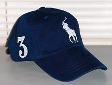 POLO RALPH LAUREN Big Pony Hat, Chino Sport Baseball Cap, Leather Strap, NAVY