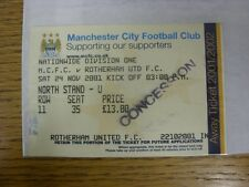 "24/11/2001 Ticket: Manchester City v Rotherham United [Stamped ""Concession""] (li"