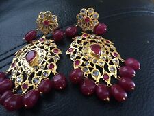 18k on4k Real gold Oval Cab Ruby Chand Nizam Mughal Earrings Pachi 22k Cc India