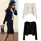Fashion Korean Womens Long Sleeve Slim Short OL Suit Jacket Blazer Coat Casual