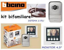 VIDEOCITOFONO BTICINO 4,3 BIFAMILIARE 316913 KIT VIDEO CITOFONO COLORI A 2 FILI