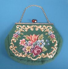 Large Vintage 40's Floral Needlepoint Tapestry Purse Bakelite Clasp