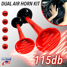 12V 185db Red Car Truck Motorcycle Air Horn Train Kit Dual Trumpet Ultra Loud