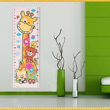 1× Cute Giraffe Pattern Children Kids Growth Height Chart Wall Sticker Decal Hot