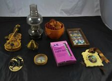 Lot of 9 Decorative Household Items Lamp Violin Lights Stained Glass R3B22