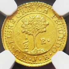 1847 CR JB GOLD CENTRAL AMERICA REPUBLIC 1/2 ESCUDO COIN NGC MINT STATE 63