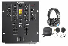 Numark M2 2-Channel DJ Scratch Mixer w/ 3-Band EQ, Black + Headphones + Case