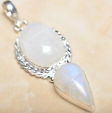 """Fire White Rainbow Moonstone Opal 925 Sterling Silver 2.25"""" Pendant #P08500"""