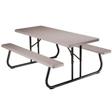 Lifetime Picnic Table 22119 Plastic Top 6-Ft Putty with Steel Folding Frame