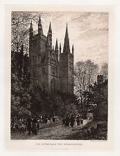 "LOOK 1800s AXEL HAIG SIGNED Antique Print ""Cathedral of Peterborough"" Framed COA"