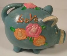 LOVE 1971 Paper Mache Piggy Bank Funky Turquoise Colorful Florals w/ Stopper