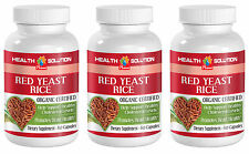 Red Yeast Rice Organic. Heart Health & Reduces Cholesterol Level (3 Bottles)