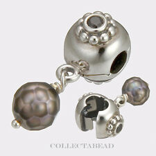 Authentic Pandora Silver Grey Faceted Pearl Dangle Clip 790873PSG *LAST ONE*