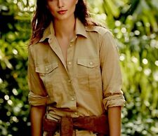 NWT RALPH LAUREN DENIM & SUPPLY WOMENS LADYS MILITARY KHAKI COTTON SHIRT SIZE M
