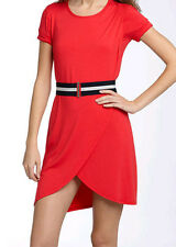 $128 BCBG BT. POPPY BELT SHORT SLEEVE JERSEY DRESS NWT L