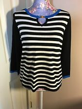 NWT Cable & Gauge Striped Sweater Long Sleeve Scoop-Neck Top Size M Women's