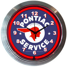 "Pontiac Autorized Service Red Neon Hanging Wall Clock 15"" Diameter"