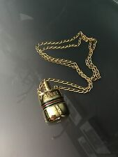 RARE! AUTH GUCCI VINTAGE LOGOS PERFUME BOTTLE MOTIF GOLD CHAIN NECKLACE