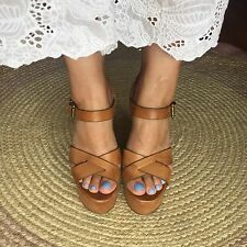 Tony Bianco Tan Brown Leather Summer Wedges Heels 9