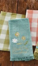 Country Primitive Cottage Beach Burlap Hand Dish Towel Good Day Sunshine Flowers