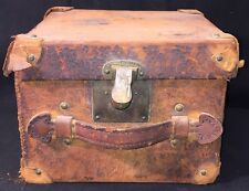 Antique 1870s 1880s Victorian Large Leather Top Hat Box Case Brass Lock Hardware