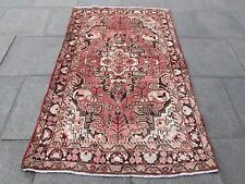 Old Shabby Chic Traditional Hand Made Persian Oriental Wool Red Pink 203x127cm