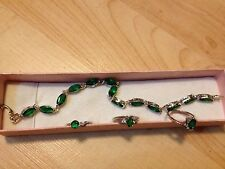 Lot 4 New GREEN EMERALD FAKE DIAMOND RINGS 5/5.5 BRACELET SILVER JEWELERY