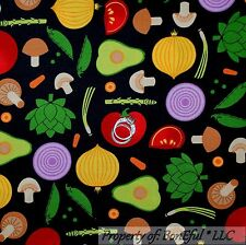 BonEful Fabric Cotton Quilt Black Red VTG Vegetable Garden Tomato Mushroom SCRAP