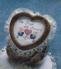 "Pre-cut Aida Heart w/Lace to Cross Stitch - Approx. 6 3/4"" x 7"" - Spinning Wheel"