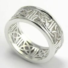 14k Solid White Gold Celtic Knot Band Ring Style Number: R1066