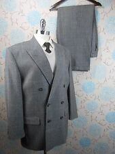 Vintage 80s Does 40s Men's Two Piece Grey Blue Fine Check Retro Suit Med/34W/29L