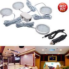 4x 12V Interior LED Spot Lights + Car Charger For Camper Van Caravan Boat UK