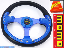 MOMO 350mm DEEP DISH STEERING WHEEL BLUE/BLACK Rally Drift OMP NARDI SPARCO 19-2