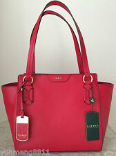NWT RALPH LAUREN Winford red LEATHER modern shopper tote BAG PURSE satchel $248