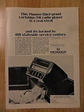 1972 Print Ad Pioneer Electronics FM Radio ~ Thief-Proof Real Steal