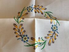 Lovely Large Square Vintage Hand Embroidered Cream Irish Linen Tablecloth VGC