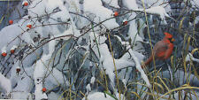 Robert BATEMAN Fresh Snow Cardinal LTD art Giclee Canvas COA stretched