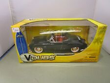JADA 1/24 V DUBS VW BLACK 1959 VOLKSWAGON KARMANN GHIA WITH SURFBOARD NEW IN BOX